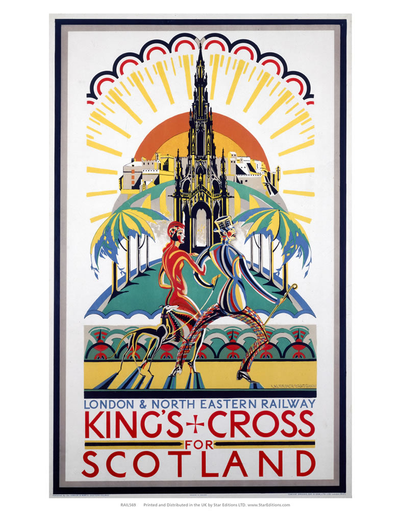 "Kings Cross for scotland - London and North Eastern Railway Poster 24"" x 32"" Matte Mounted Print"