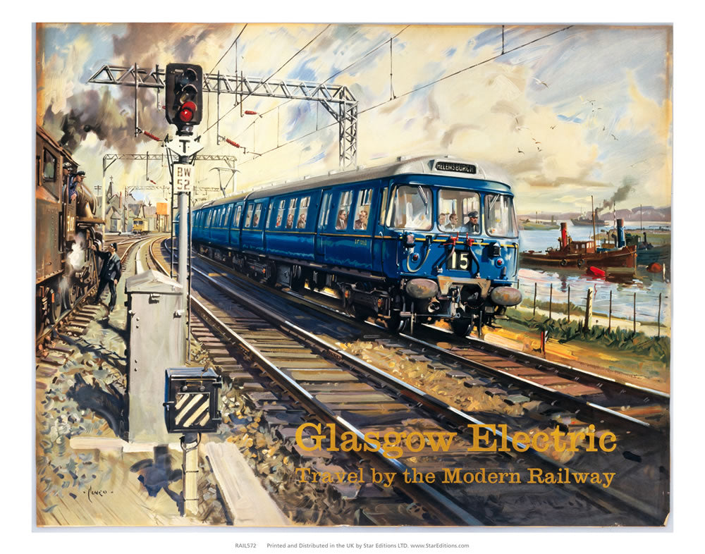 "Glasgow Electric - Travel By the modern Railway c. 1960's 24"" x 32"" Matte Mounted Print"