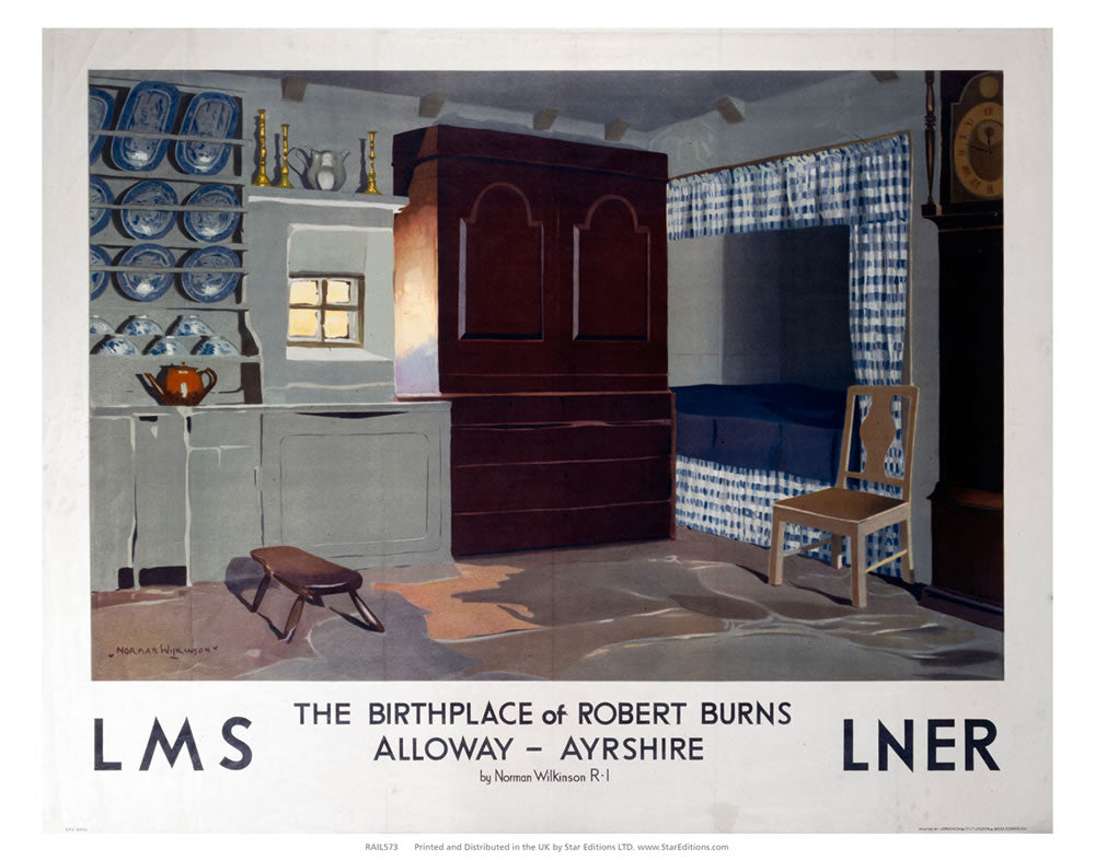 "The Birthplace of Robert Burns - Alloway Ayrshire LMS LNER poster 24"" x 32"" Matte Mounted Print"