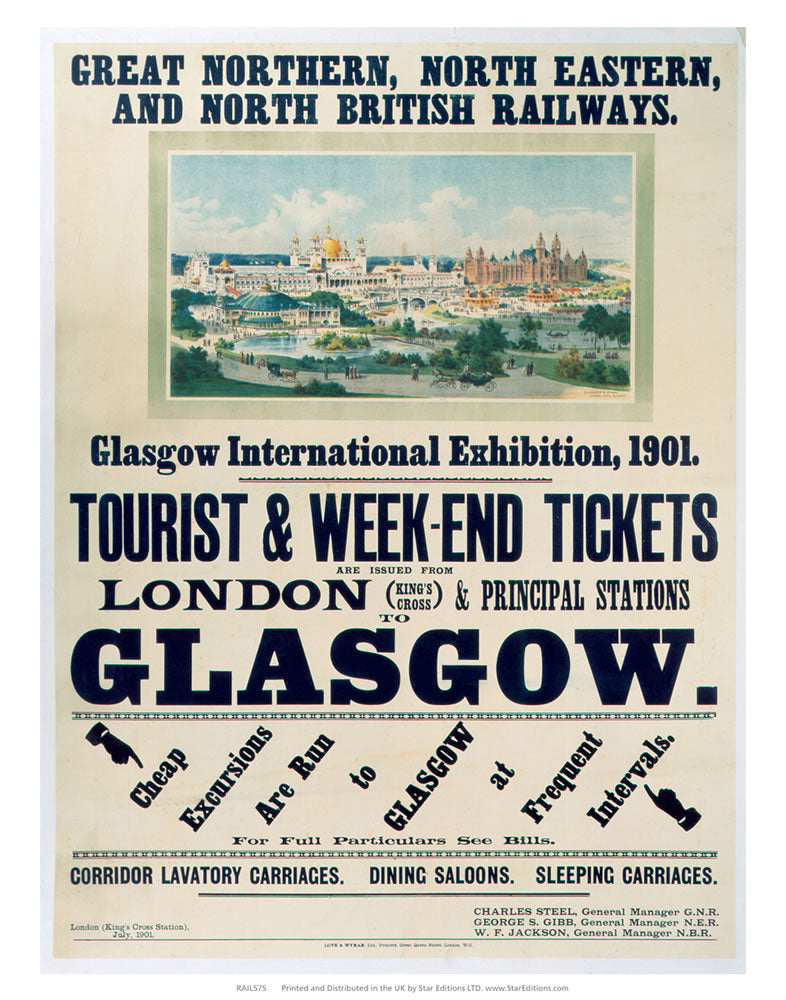 "Glasgow international exhibition - 1901 London to glasgow British Railways 24"" x 32"" Matte Mounted Print"