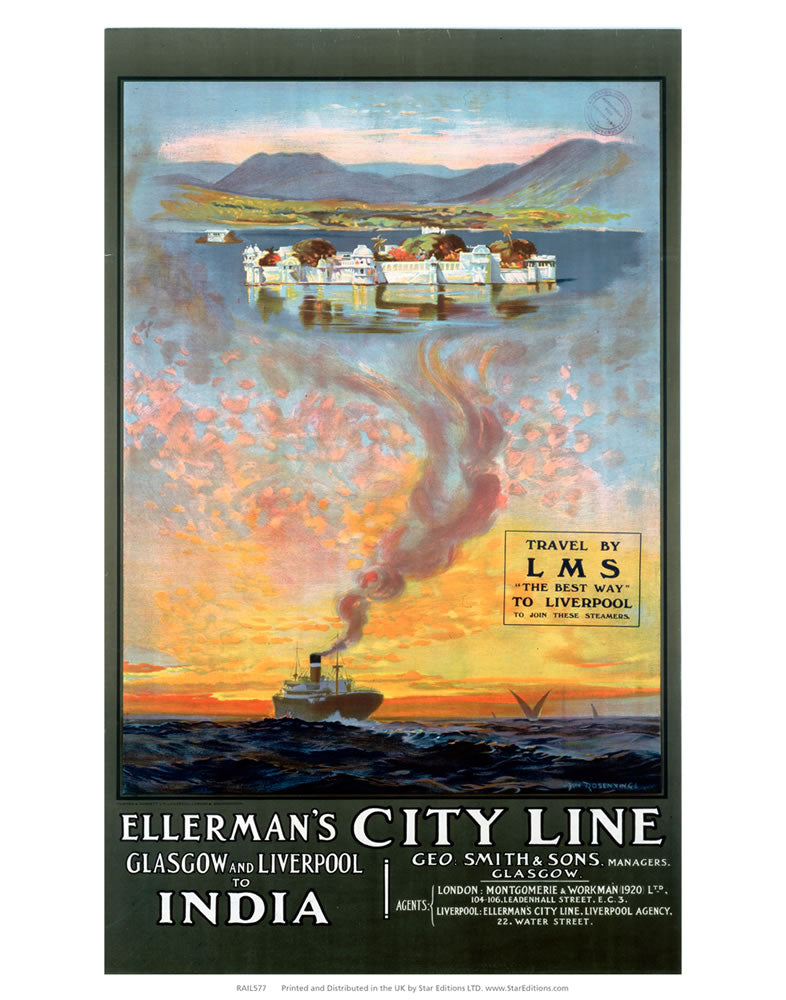 "Ellerman's city line - Glasgow to Liver pool to india ship LMS 24"" x 32"" Matte Mounted Print"