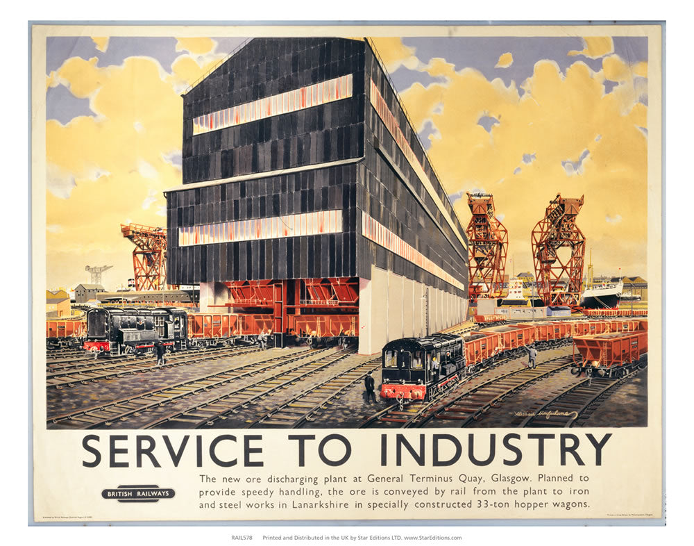 "Service to industry - Ore discharging plan general terminus glasgow 24"" x 32"" Matte Mounted Print"