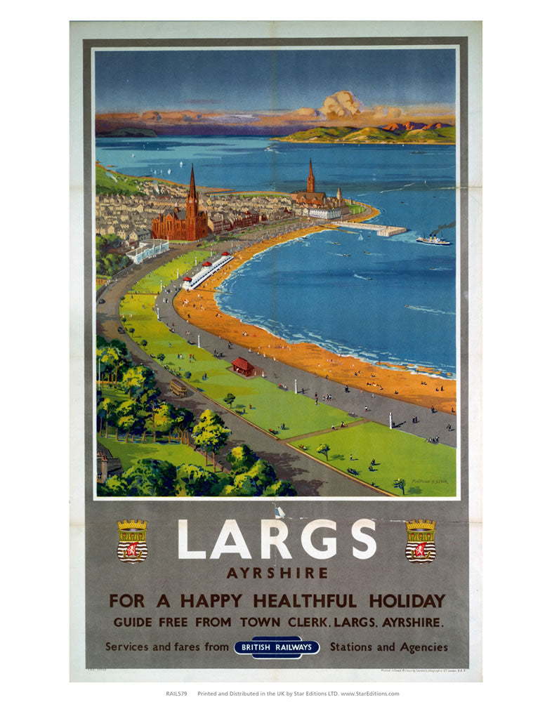 "Largs Ayrshire - Happy healthful holiday British Railways 24"" x 32"" Matte Mounted Print"