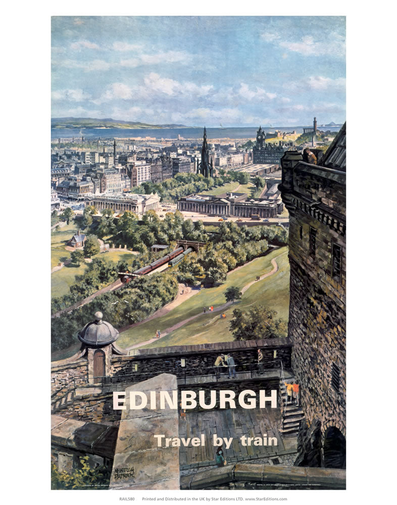 "Edinburgh travel by train - Castle poster 24"" x 32"" Matte Mounted Print"