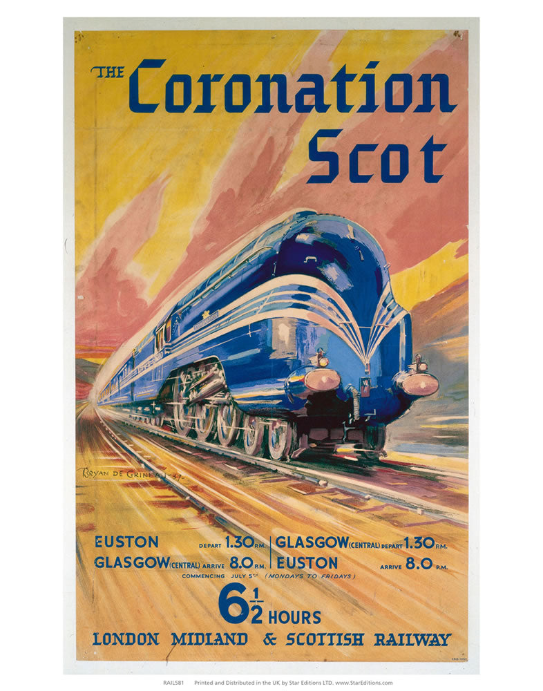 "The Coronation Scott - 6 1/2 hour London midland and scottish railway 24"" x 32"" Matte Mounted Print"