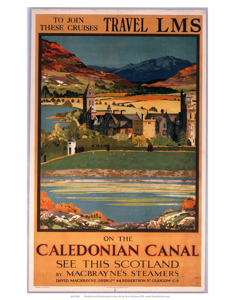 "On the Caledonian canal - LMS Travel cruises 24"" x 32"" Matte Mounted Print"