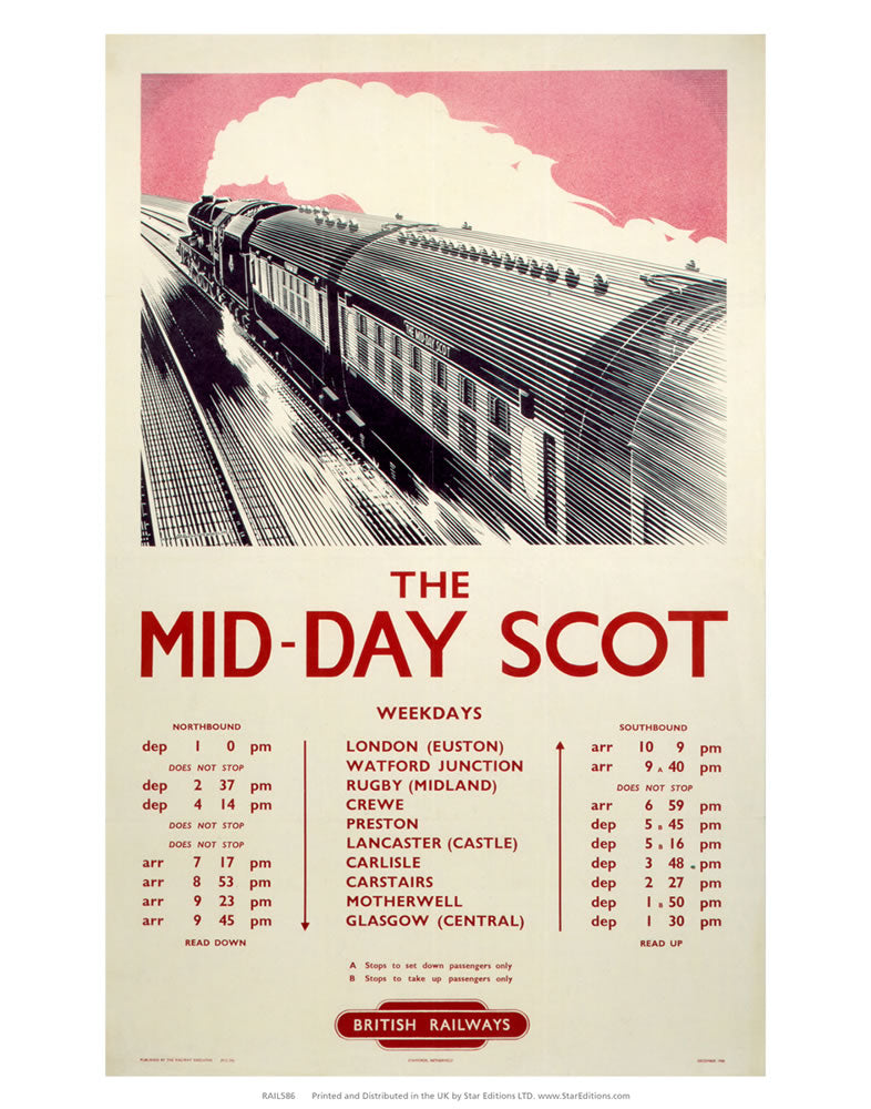"The Mid-Day Scot - British Railways Timetable 24"" x 32"" Matte Mounted Print"