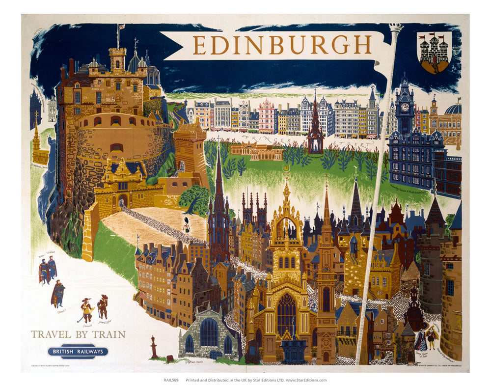 "Edinburugh flagpole -travel by train british railways 24"" x 32"" Matte Mounted Print"
