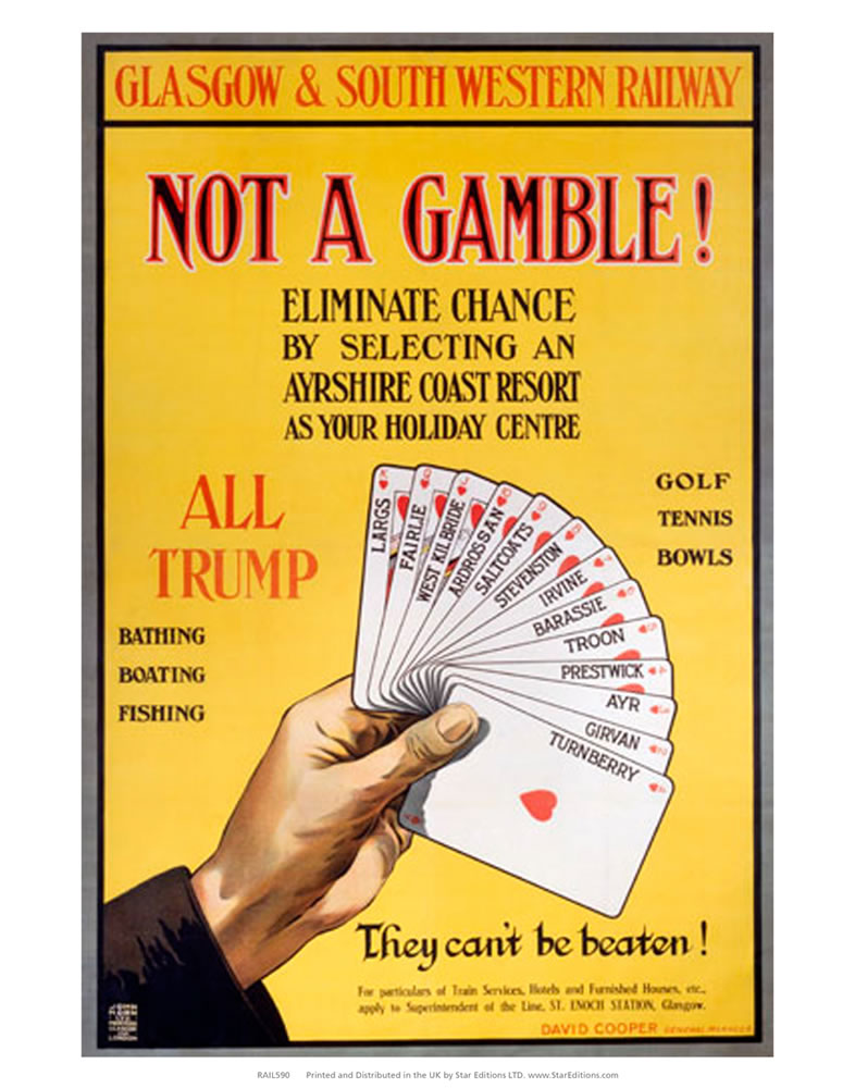 "Not a Gamble - They can't be beaten ayrshire coast resort 24"" x 32"" Matte Mounted Print"