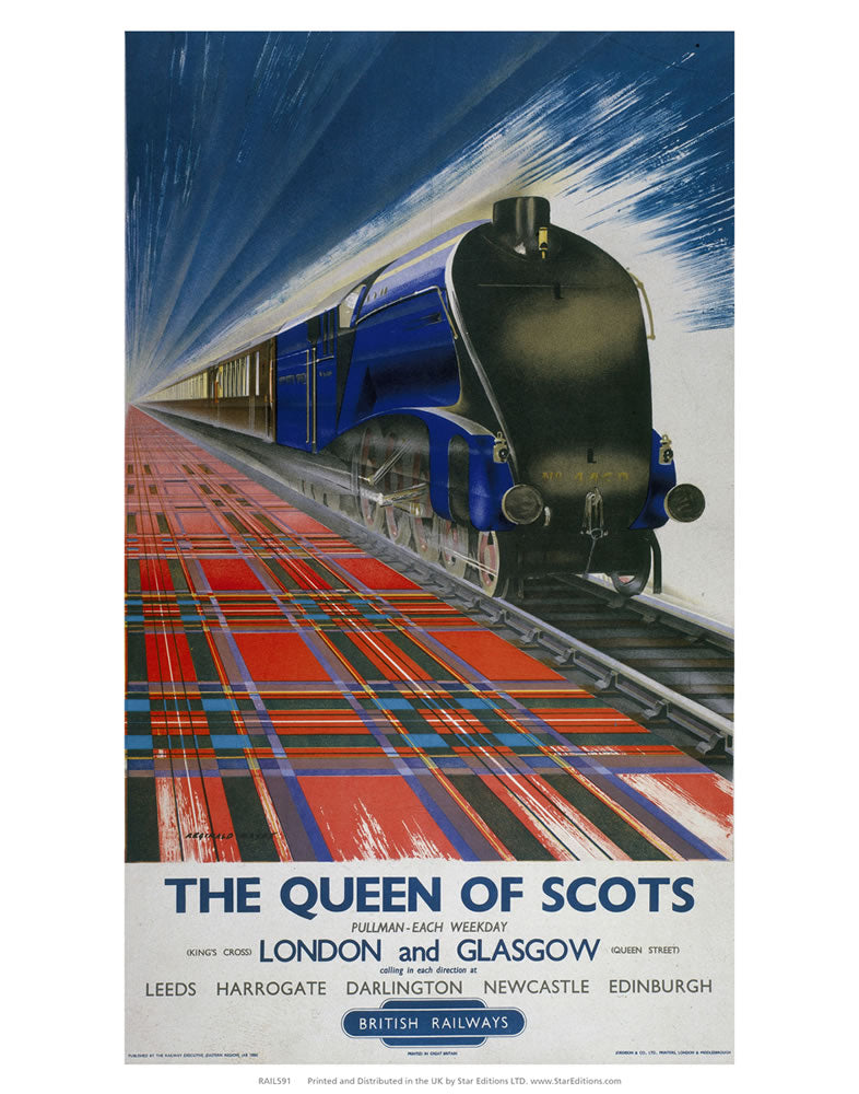 "Queen of Scots - London and Glasgow British Rail 24"" x 32"" Matte Mounted Print"