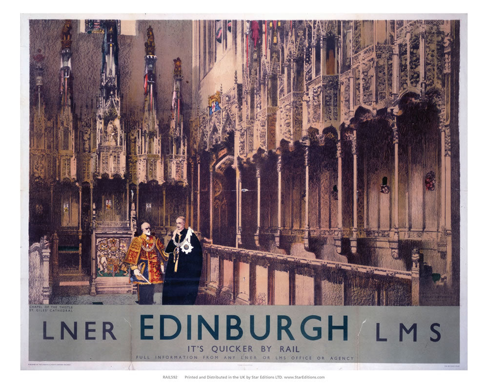 "Chapel Of The Thistle - St Giles Cathedral Edinburgh LNER 24"" x 32"" Matte Mounted Print"
