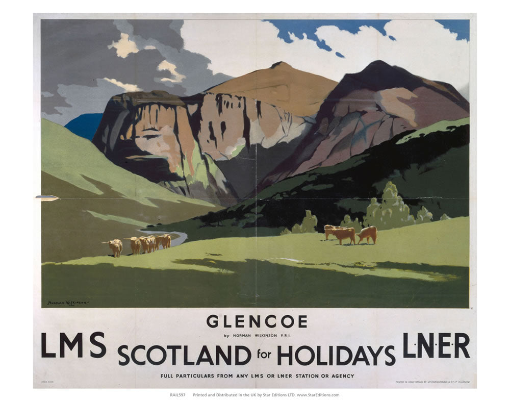 "Glencoe holiday - Scotland LMS LNER 24"" x 32"" Matte Mounted Print"