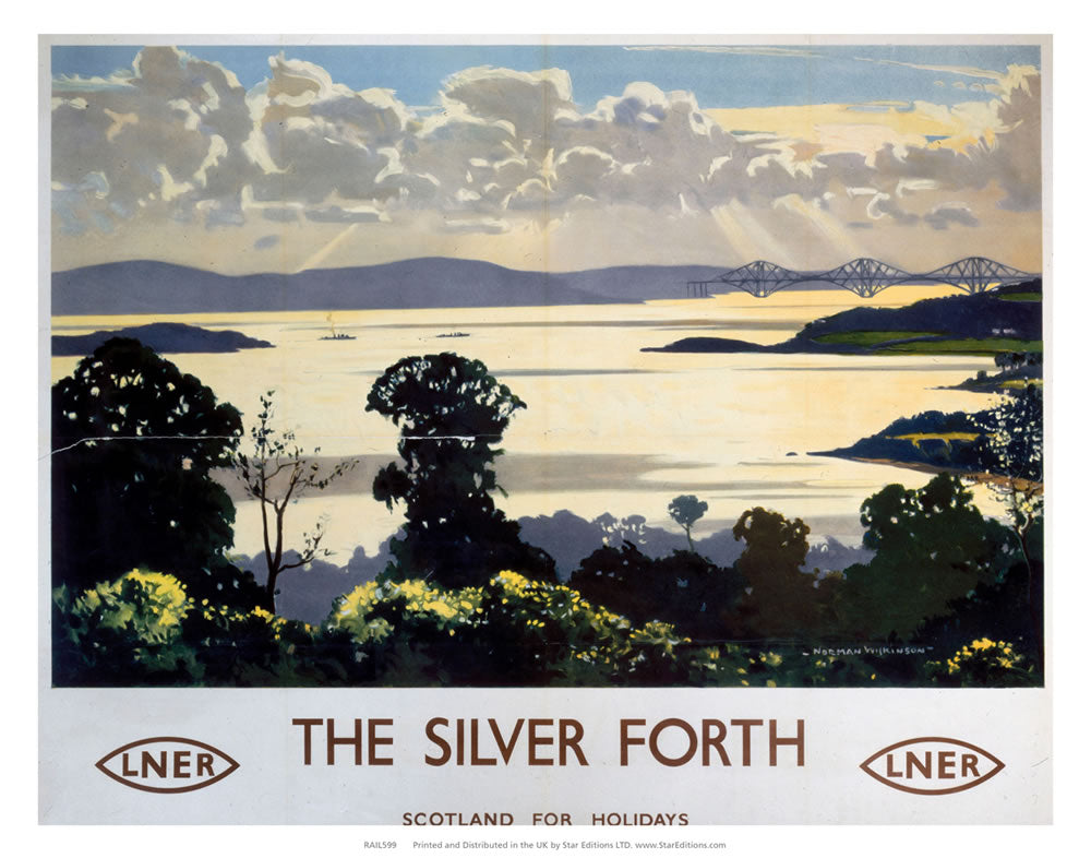 "The Silver Forth Bridge - LNER 24"" x 32"" Matte Mounted Print"