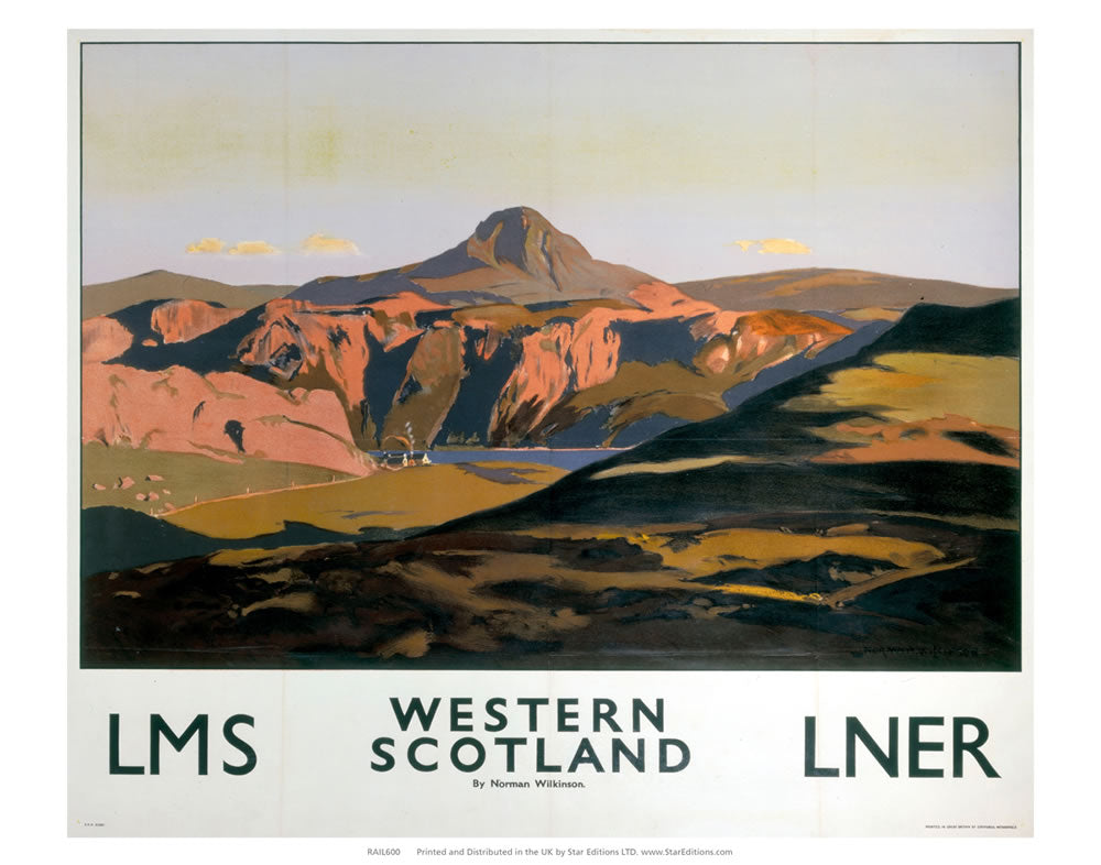 "Western Scotland - By Norman Wilkinson LMS LNER Railway 24"" x 32"" Matte Mounted Print"