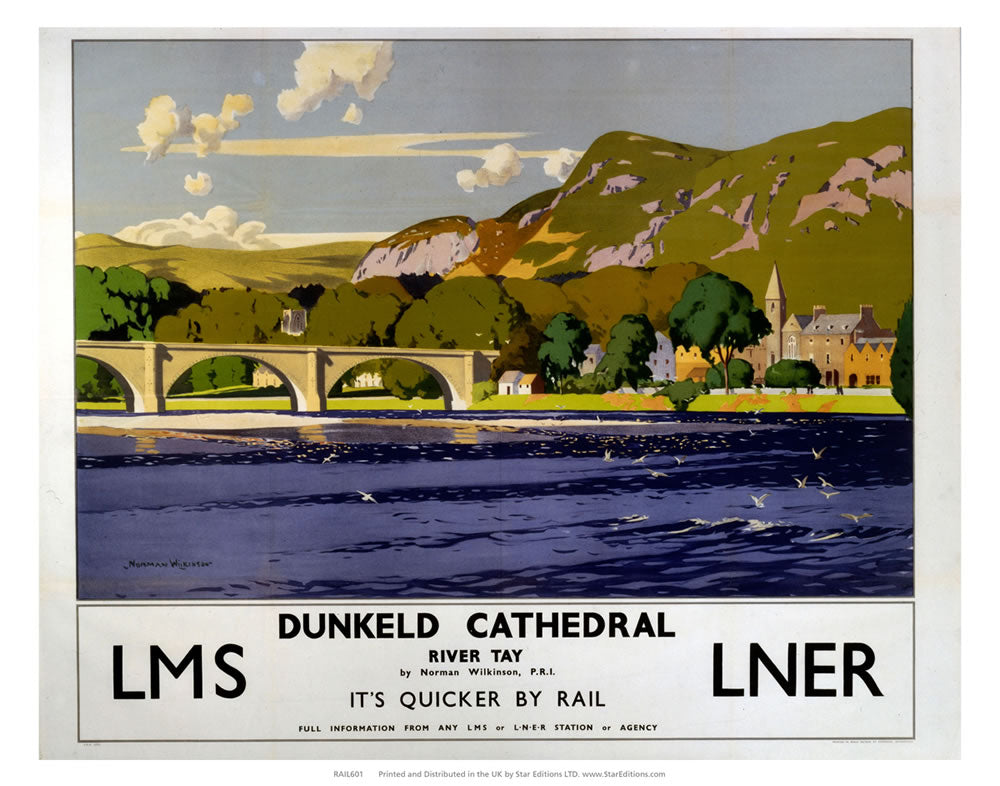 "Dunkeld Cathedral on the river tay - Quicker by rail LNER 24"" x 32"" Matte Mounted Print"