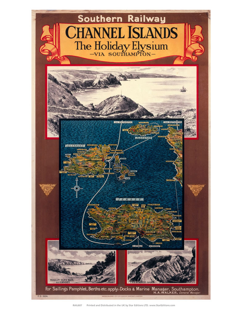 "Channel Island Holiday Elysium - Via Southampton map 24"" x 32"" Matte Mounted Print"