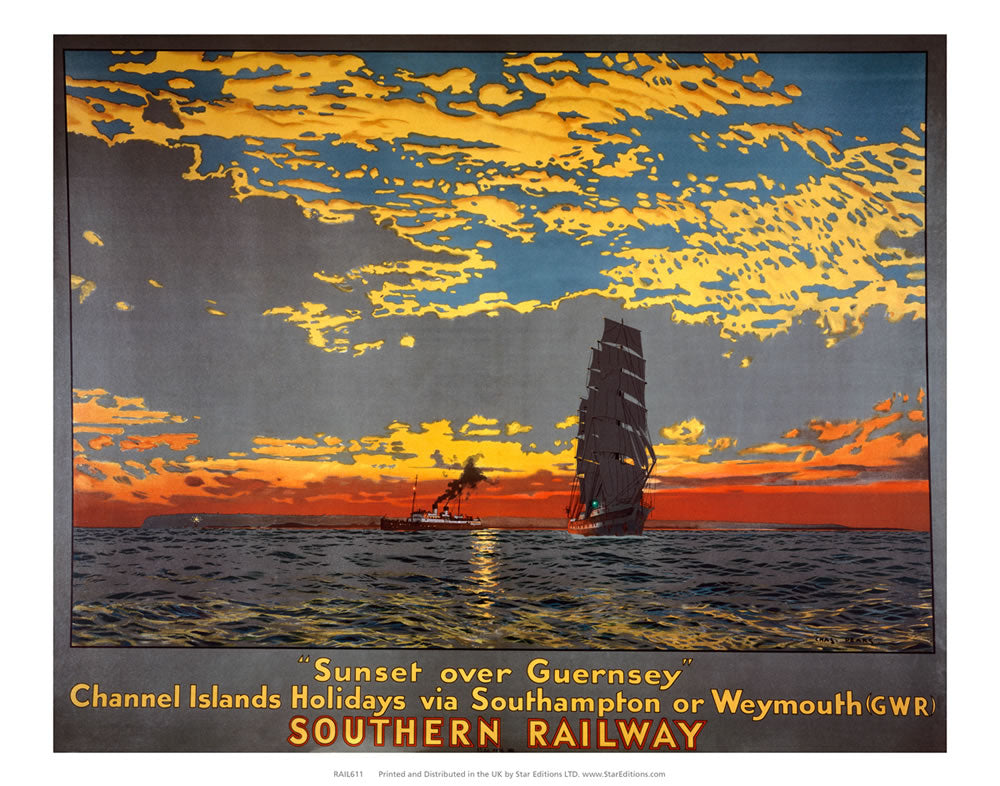 "Sunset over guernsey - Southern Railway 24"" x 32"" Matte Mounted Print"