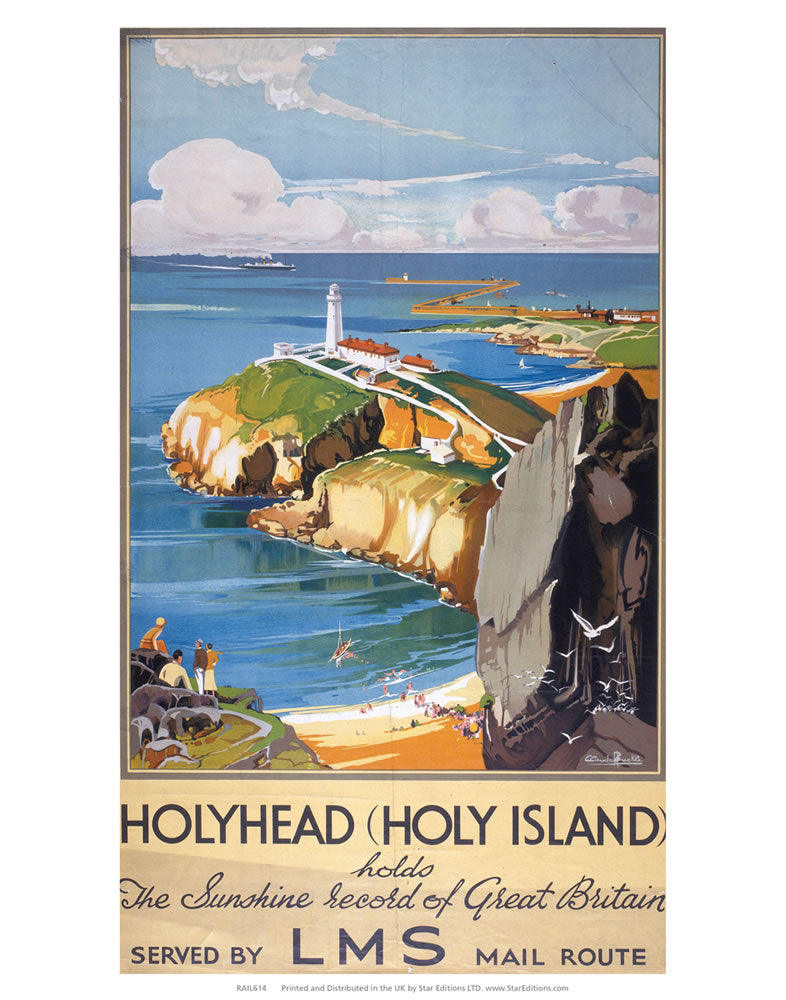 "Holy Island - Sunshine Record Of Britain LMS 24"" x 32"" Matte Mounted Print"