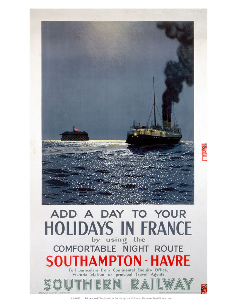 "Holidays in France - Southampton to Havre Southern Railway 24"" x 32"" Matte Mounted Print"