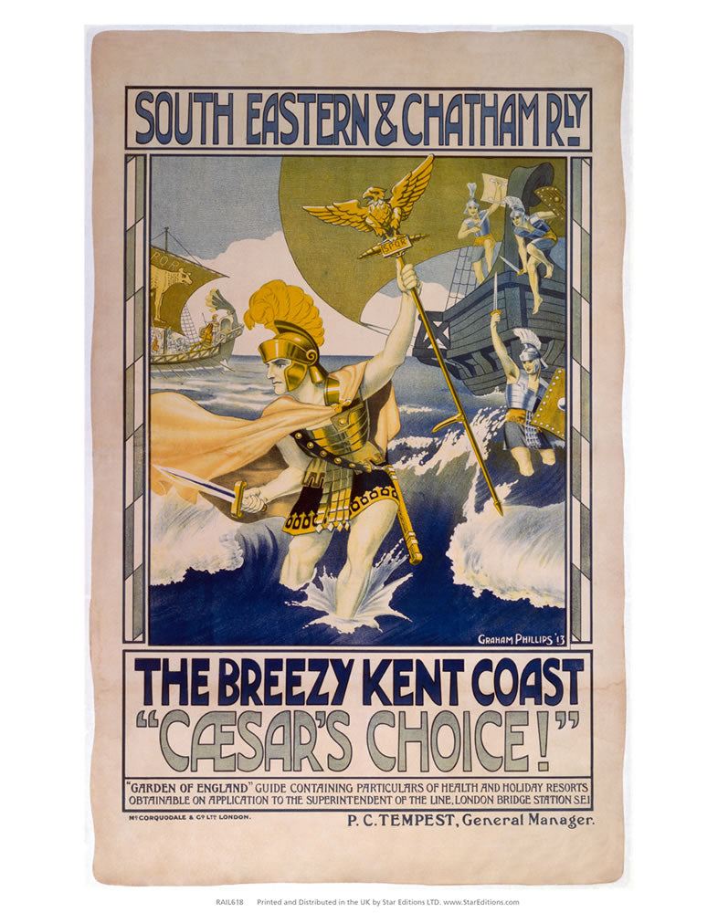 "Breezy Kent Coast - Ceasers choice South Eastern and Chatham Railway 24"" x 32"" Matte Mounted Print"