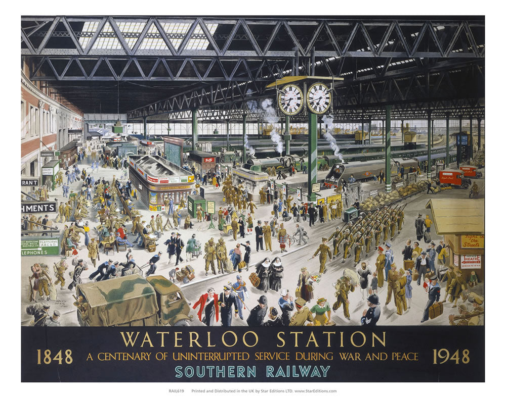 "1848 to 1948 waterloo station - Centenary of uninterrupted service 24"" x 32"" Matte Mounted Print"