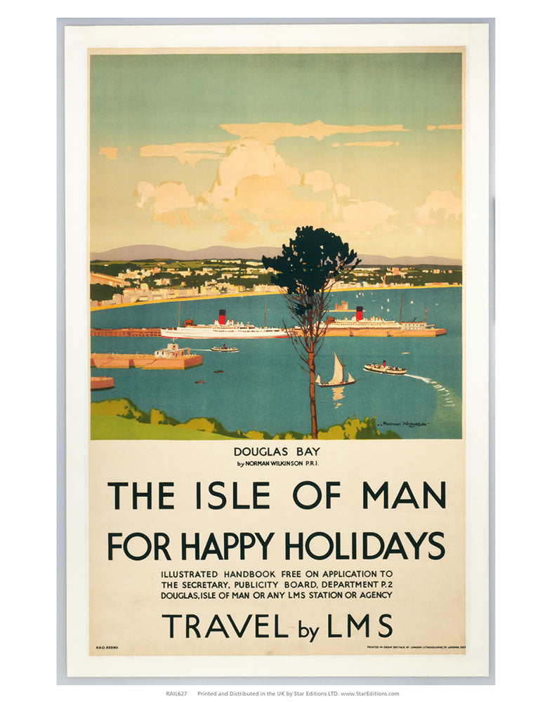 "Happy Holidays - The Isle of Man By LMS 24"" x 32"" Matte Mounted Print"
