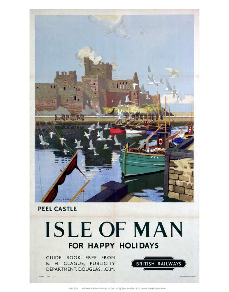 "Peel Castle - happy Holidays in the Isle of Man by British Railways 24"" x 32"" Matte Mounted Print"