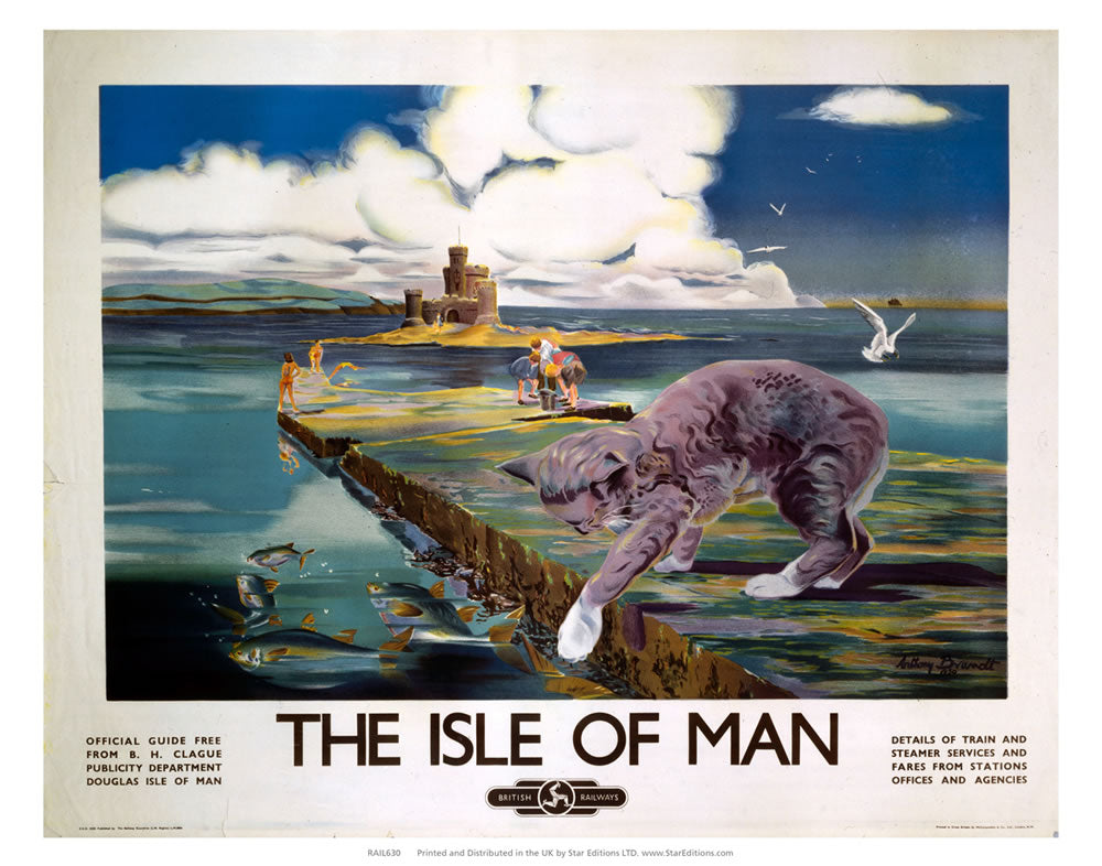 "Cat Fishing - The Isle Of Man by British Rail 24"" x 32"" Matte Mounted Print"