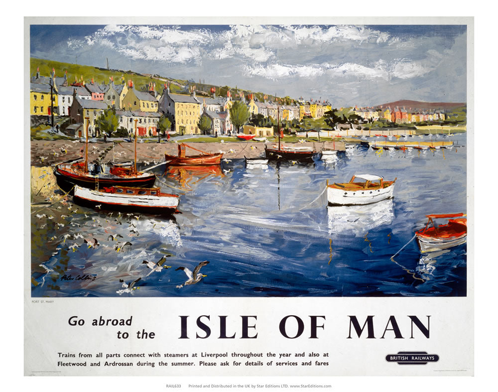 "Go Abroad to the Isle of Man - Port St Mary by British Rail 24"" x 32"" Matte Mounted Print"