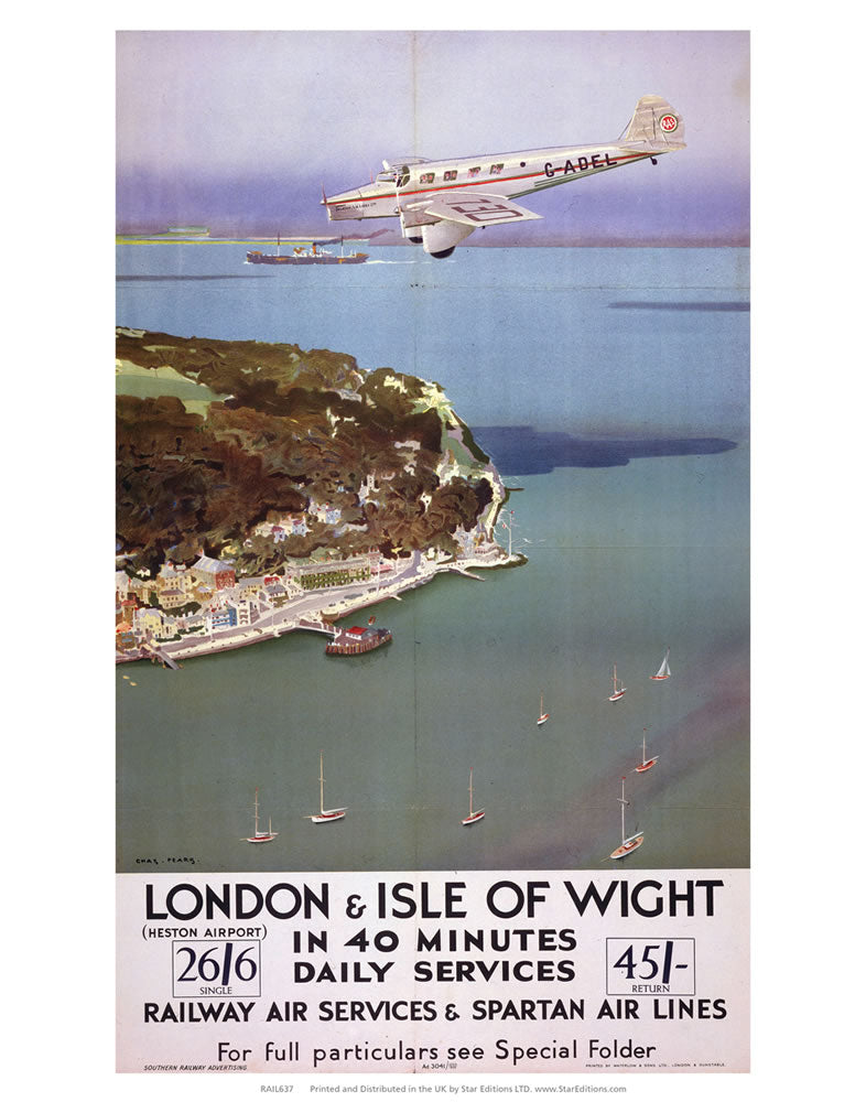 "Railway Air Services and Spartan air lines - London and the Isle of Wight 24"" x 32"" Matte Mounted Print"