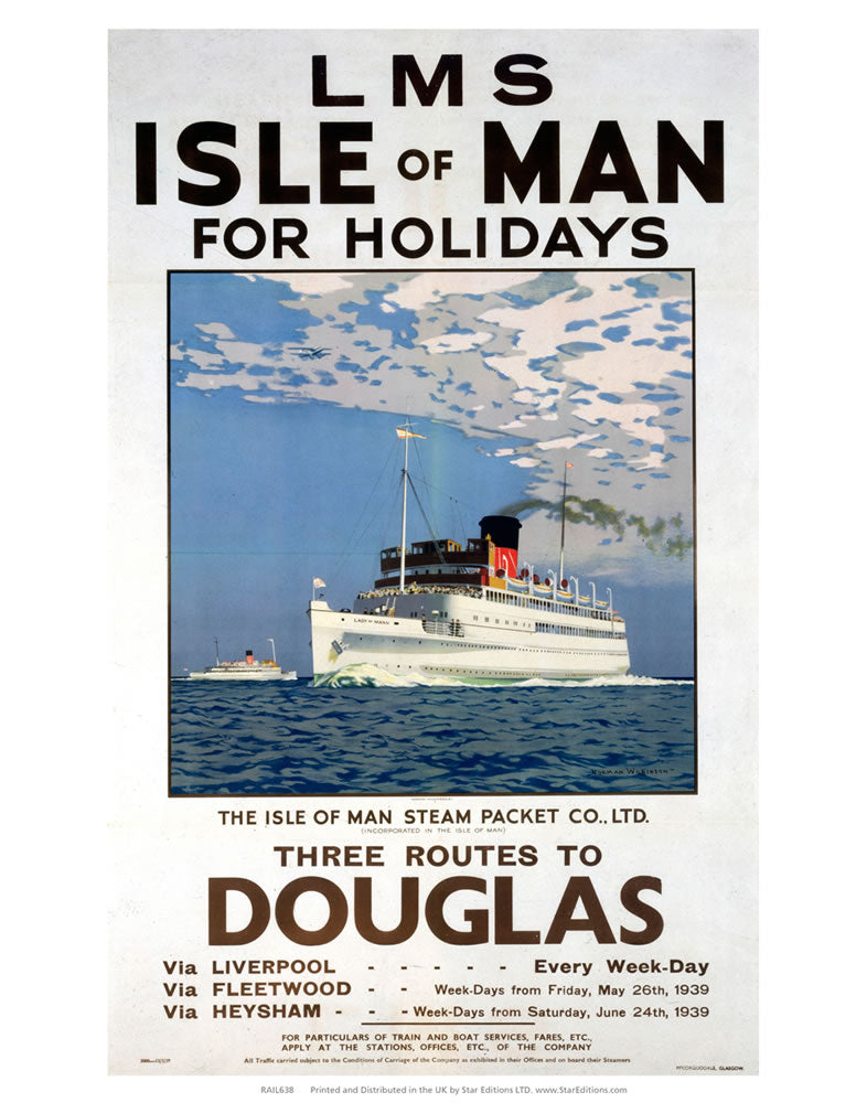 "Isle Of Man Steam Packet - Routes to Douglas Isle Of Man 24"" x 32"" Matte Mounted Print"