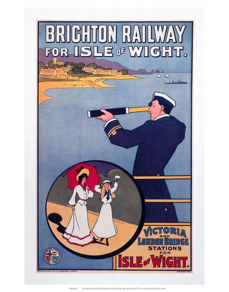 "Off the coast of the Isle of Wight - Brighton Railway 24"" x 32"" Matte Mounted Print"