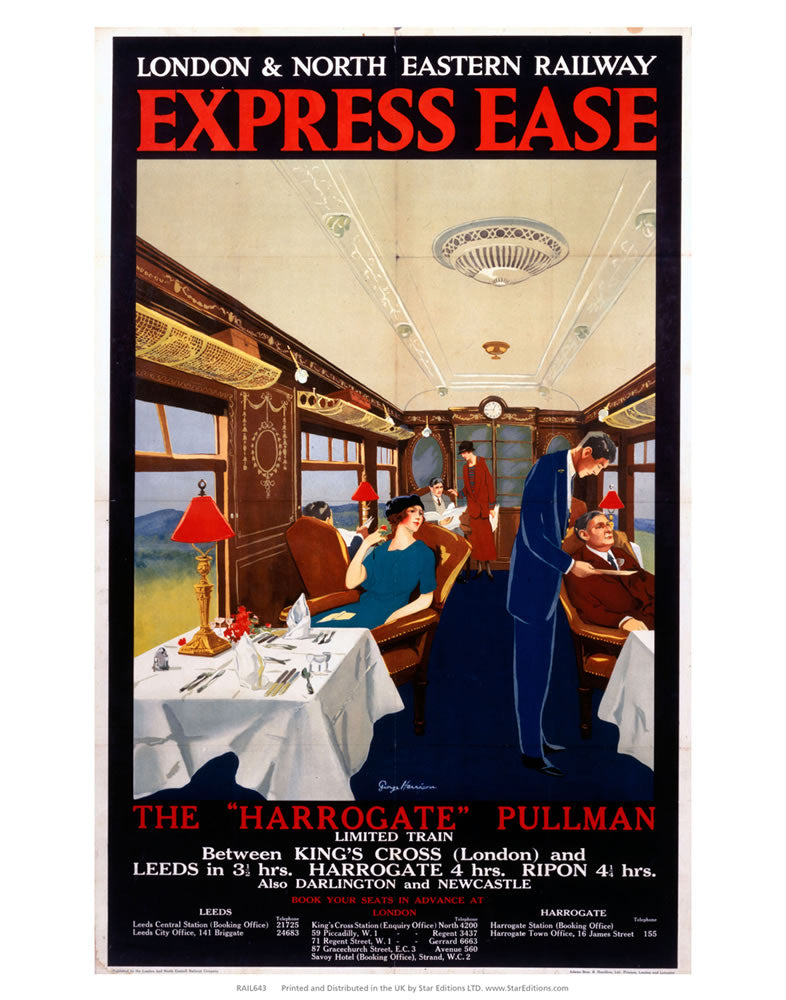 "The Harrogate Pullman - Express Ease by London and North Eastern Railway 24"" x 32"" Matte Mounted Print"