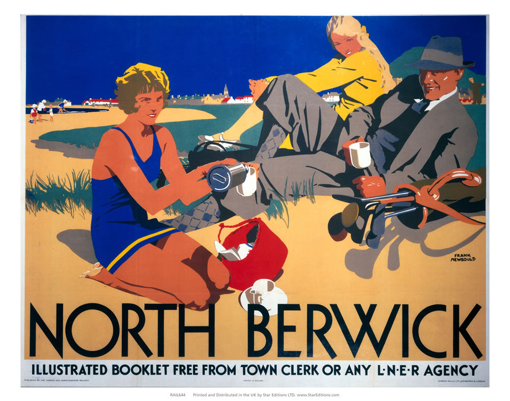 "Picnic on the beach - North Berwick LNER 24"" x 32"" Matte Mounted Print"