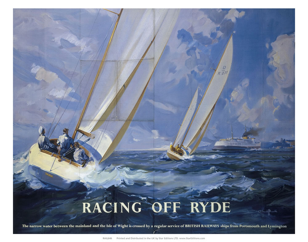 "Racing off Ryde - Racing Yachts by British Railways 24"" x 32"" Matte Mounted Print"