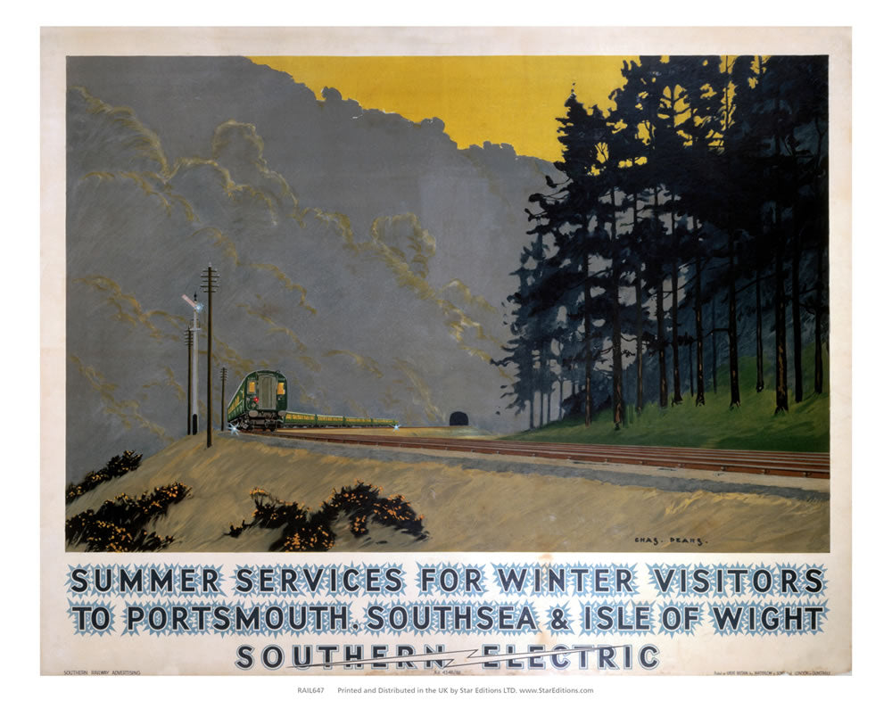 "Summer services - Southern Electric to portsmouth southsea and isle of wight 24"" x 32"" Matte Mounted Print"