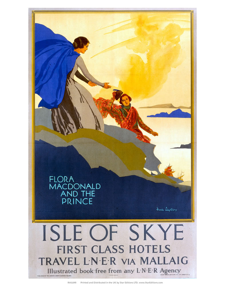 "Isle Of Skye first Class hotels - Flora Macdonald and the prince 24"" x 32"" Matte Mounted Print"