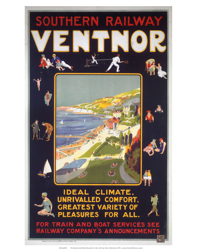 "Ventnor - Southern Railway Train and boat services 24"" x 32"" Matte Mounted Print"