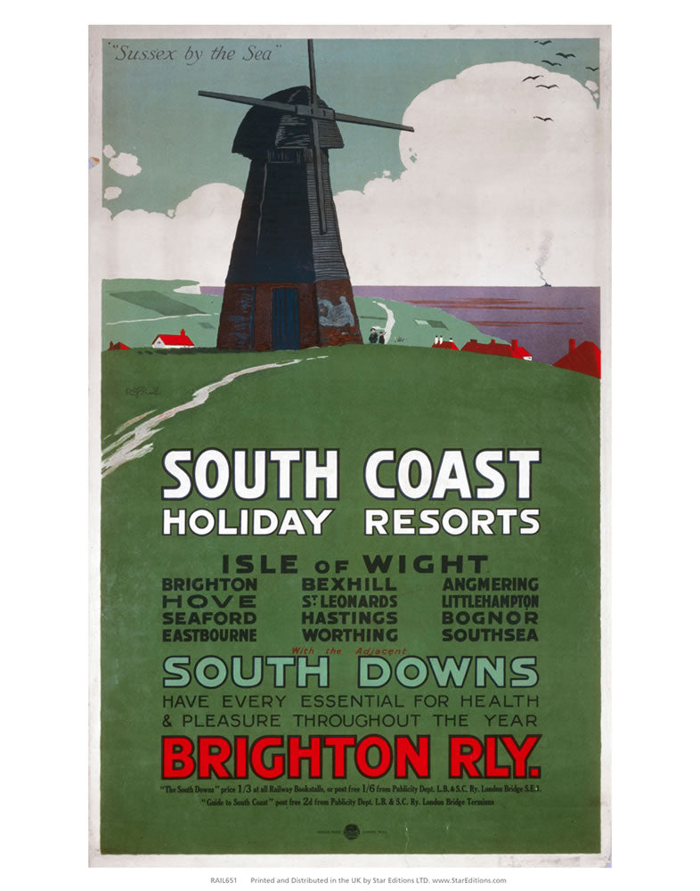 "South Coast Holiday Resorts - South Downs By Brighton railway 24"" x 32"" Matte Mounted Print"