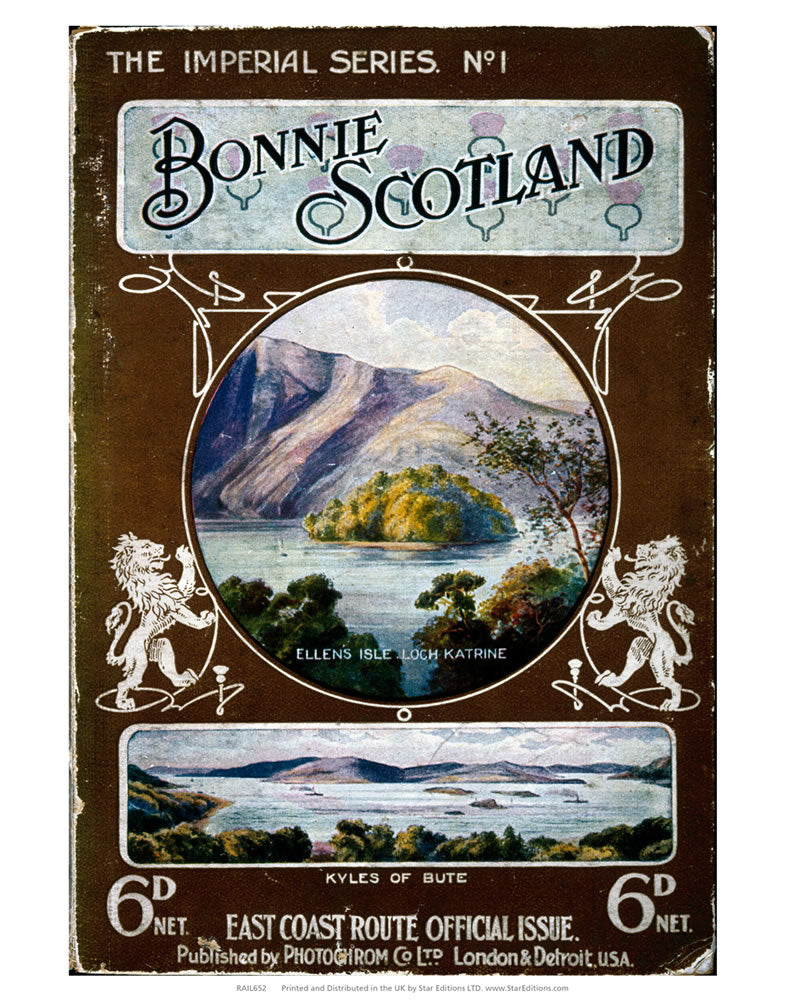 "Bonnie Scotland - East coast route official issue imperial series 24"" x 32"" Matte Mounted Print"