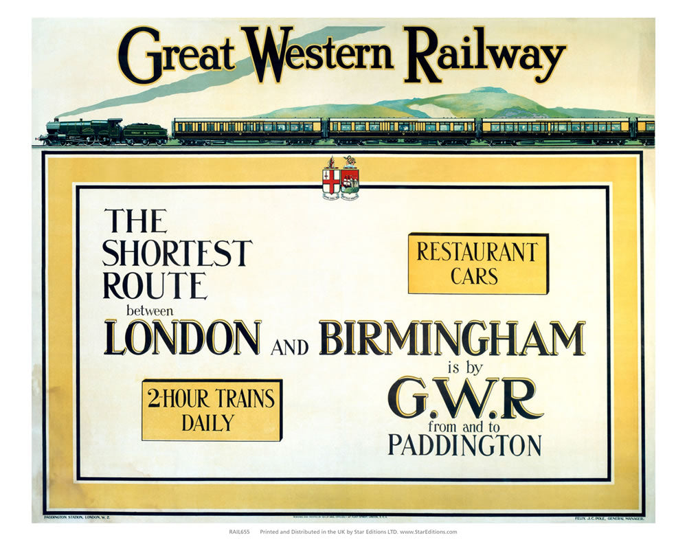 "The Shortest Route - Longon to birmingham great western railway 24"" x 32"" Matte Mounted Print"