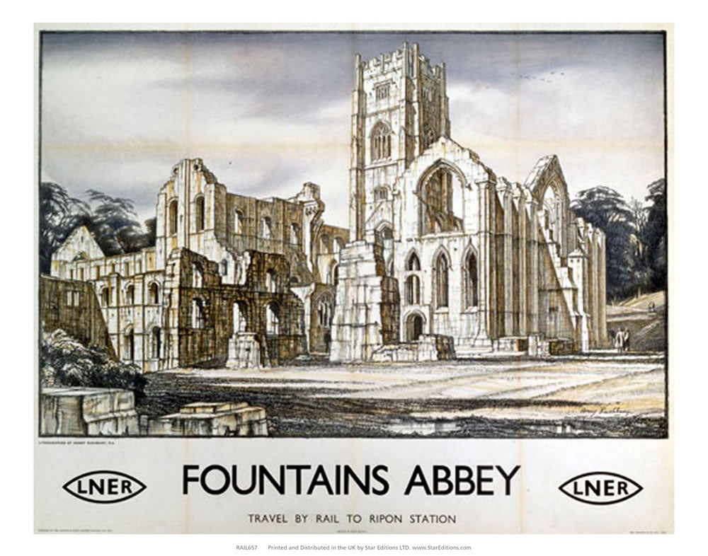 "Fountains Abbey - Travel by rail to ripon station by LNER 24"" x 32"" Matte Mounted Print"