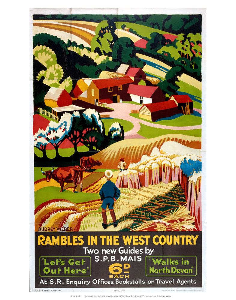 "Rambles in the west country - Two new guides 6D each 24"" x 32"" Matte Mounted Print"