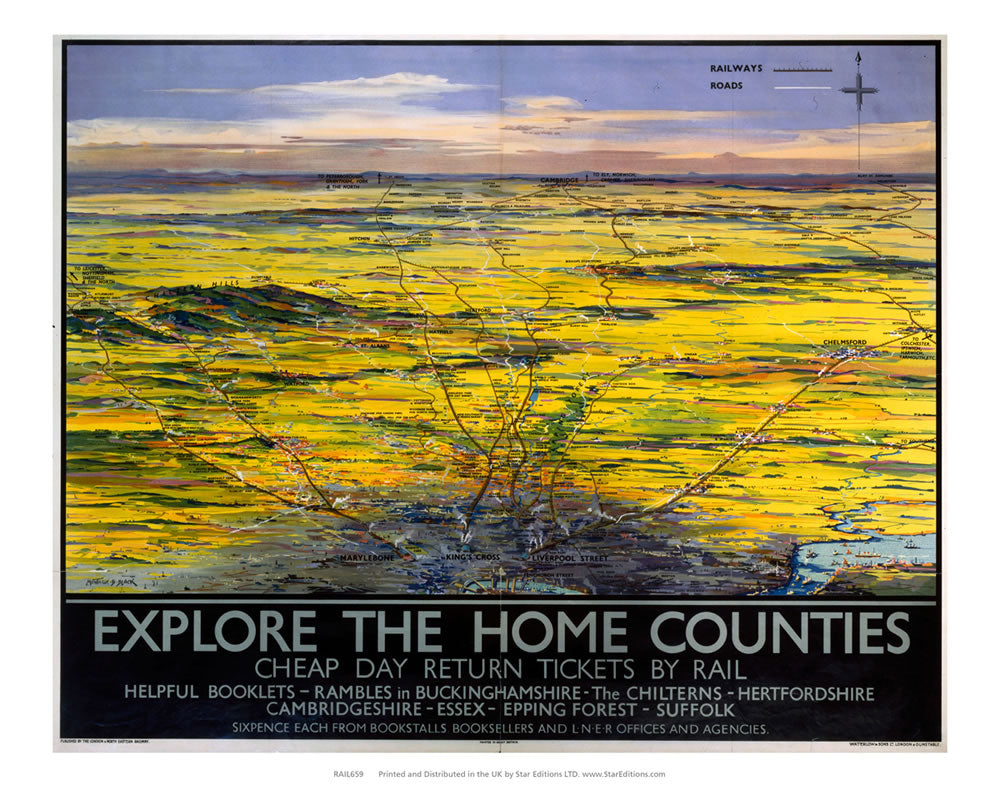 "Explore the home Counties - Ramble guides from LNER 24"" x 32"" Matte Mounted Print"