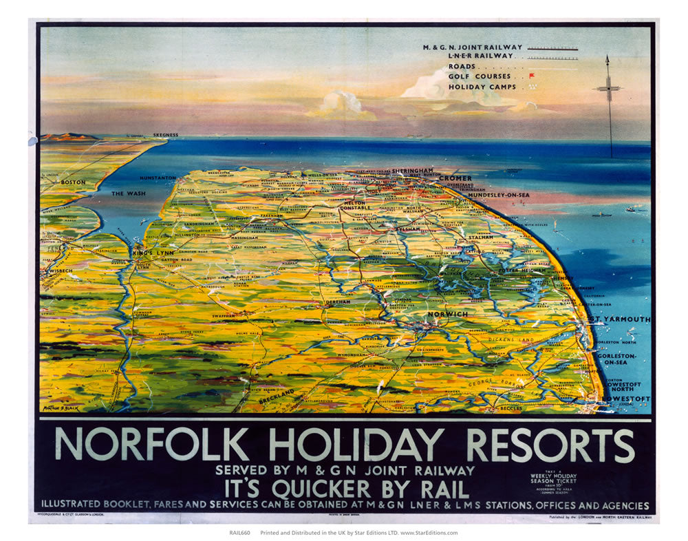 "Norfolk Holiday Resorts - Quicker by rail norfolk map 24"" x 32"" Matte Mounted Print"