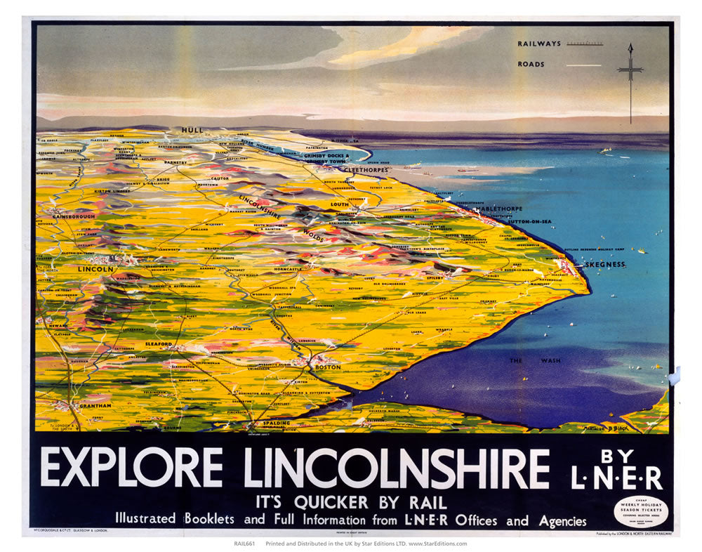 "Explore Linconshire - Quicker by rail LNER Map 24"" x 32"" Matte Mounted Print"