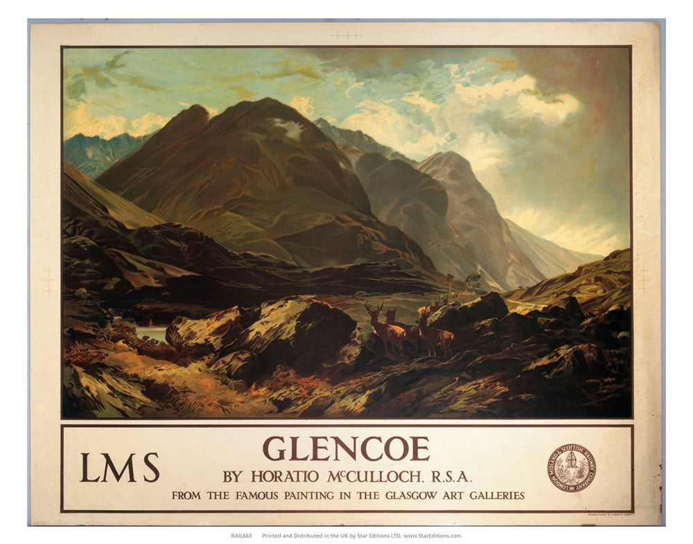 "Glencoe - The Famous painting by Horatio McCulloch 24"" x 32"" Matte Mounted Print"