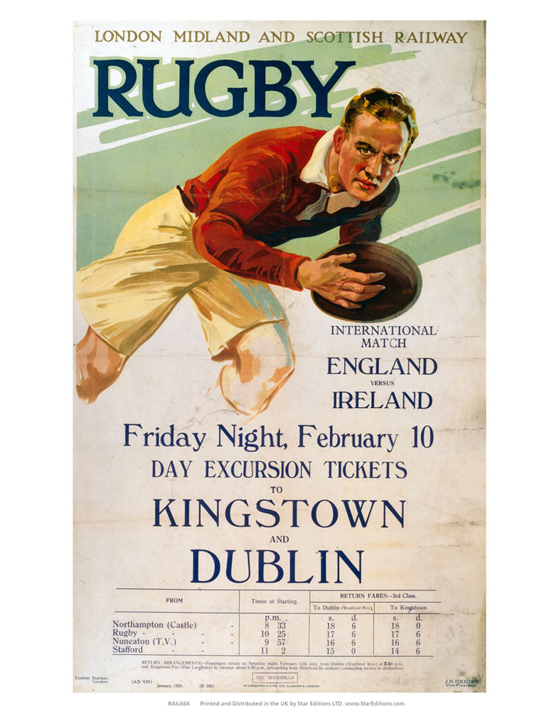 "Rugby England Vs Ireland - Tickets to Kinstown and Dublin 24"" x 32"" Matte Mounted Print"