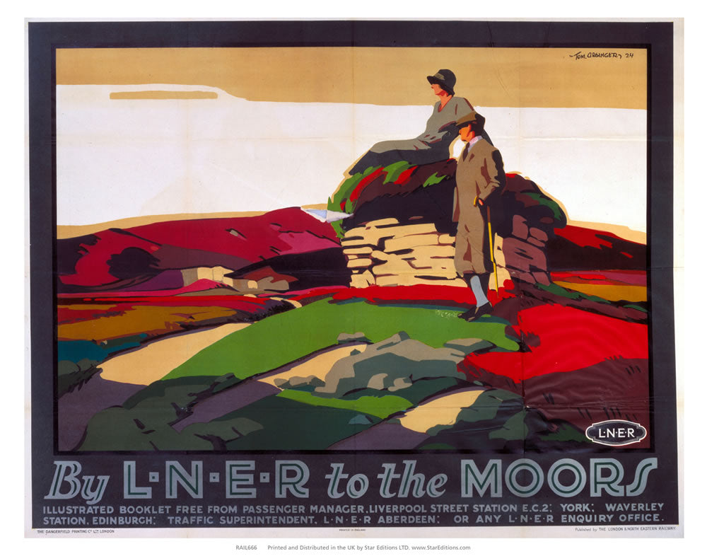 "To The moors - Ramblers by LNER 24"" x 32"" Matte Mounted Print"