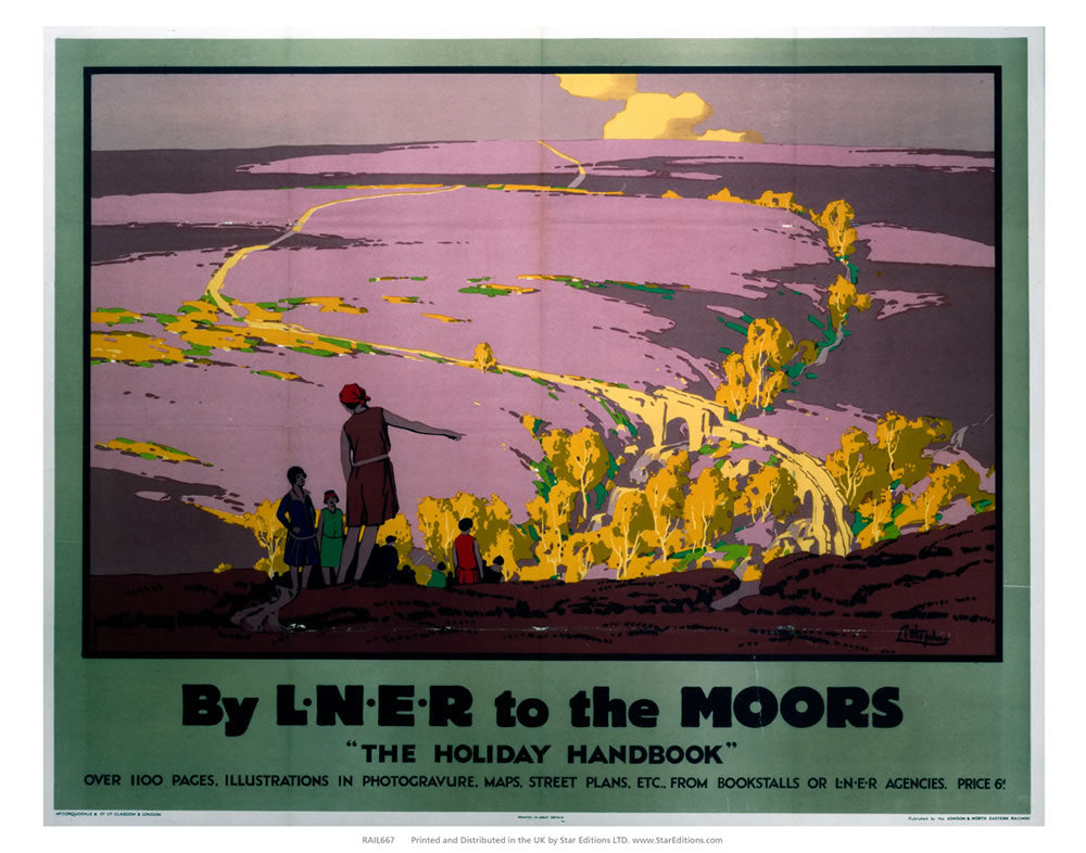 "The Holiday Handbook - LNER to the moors 24"" x 32"" Matte Mounted Print"